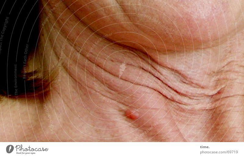Vorgeschmack alt Erwachsene Haut Zukunft Falte Locken Eispickel Halsschlagader