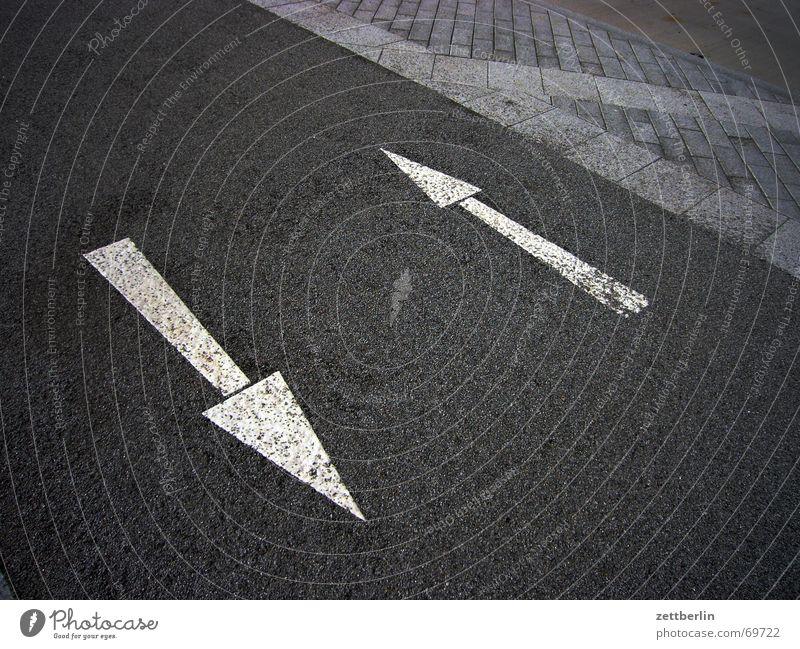 Pfeile rechts links Bürgersteig Fahrradweg grau weiß Hund verrückt Schilder & Markierungen Straße Pflastersteine