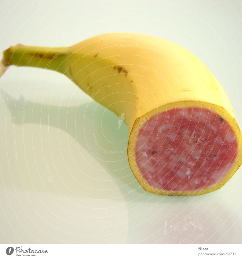 Banami II rot gelb Ernährung Lebensmittel Frucht süß genießen Genetik Fett Fleisch Schwein Wurstwaren Banane Südfrüchte Geschmackssinn bearbeitet