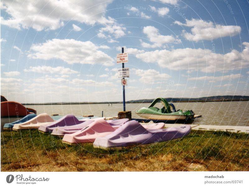 REAL PLASTICWORLD | urlaub bunt farben see sommer tretboote Wasser Himmel grün blau Sommer Freude Ferien & Urlaub & Reisen Erholung See Wasserfahrzeug rosa groß Kitsch violett tauchen Idylle