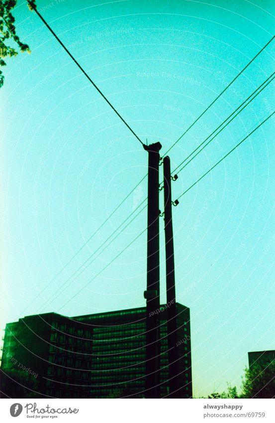 es wird abend im ghetto Himmel Baum träumen trist Hochhaus Beton Ast Kabel Skyline Wohnhochhaus trashig Verzweiflung Erwartung Plattenbau zyan Problematik