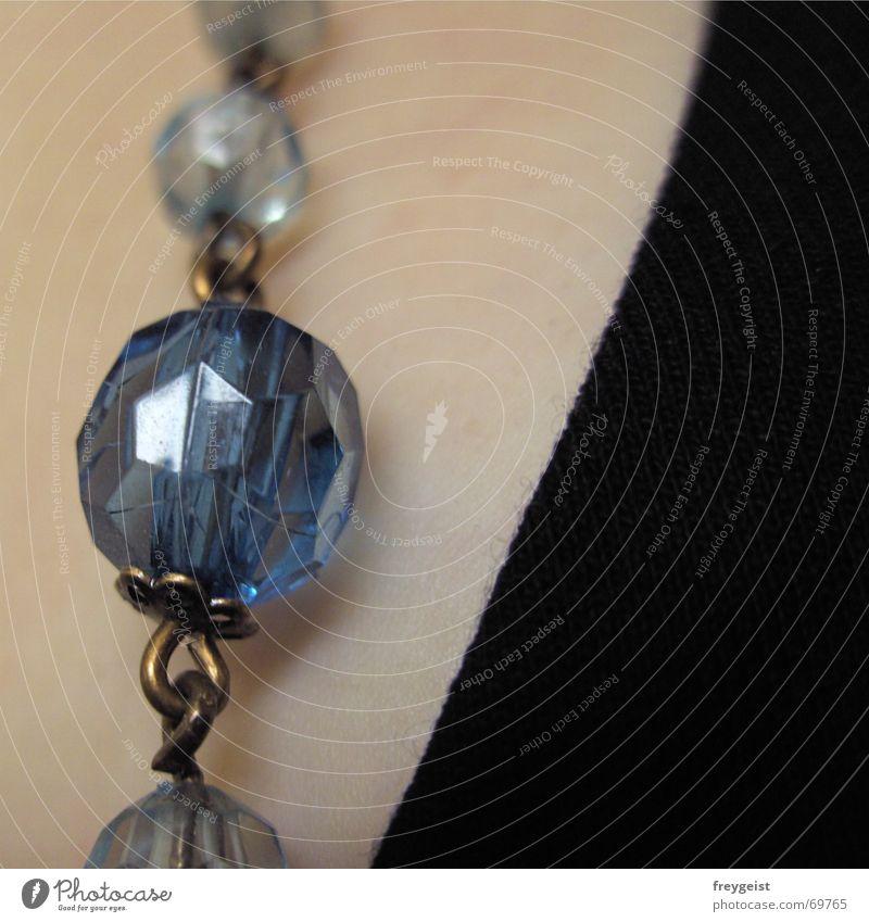 Pearls blau schwarz Haut Ecke Stoff Kette Perle eckig Teint gewebt Perlenkette Schliff