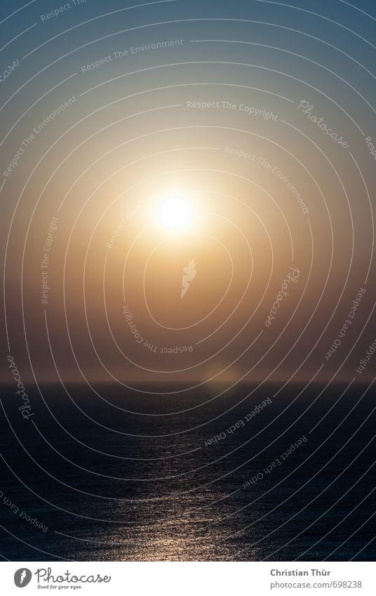 Entspannen bei der Kreuzfahrt Umwelt Wasser Himmel Wolkenloser Himmel Sonne Sonnenaufgang Sonnenuntergang Sonnenlicht Sommer Schönes Wetter Wärme Meer ägais