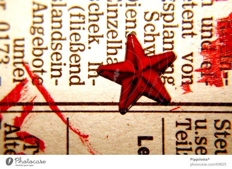 check. In-2 rot Farbe Linie Schriftzeichen Stern (Symbol) Zeitung