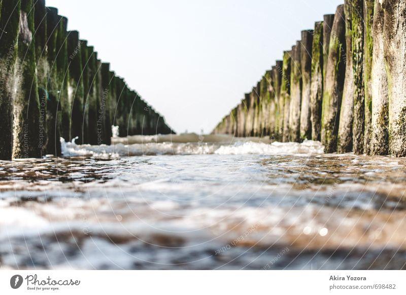 Wellenbrecher II Wasser Himmel Küste Strand Nordsee berühren Bewegung Flüssigkeit nass blau braun grün schwarz weiß Schutz Erholung Natur
