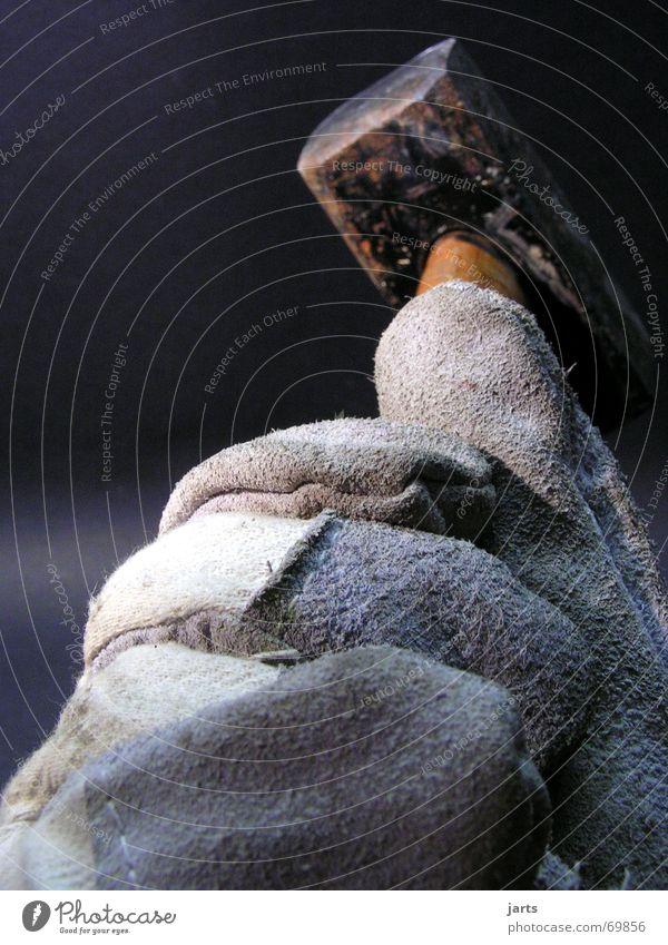Der Hammer Handwerker Bauarbeiter Handschuhe Arbeit & Erwerbstätigkeit Wut Ärger Kraft fäustel Baustelle Schlag Renovieren jarts
