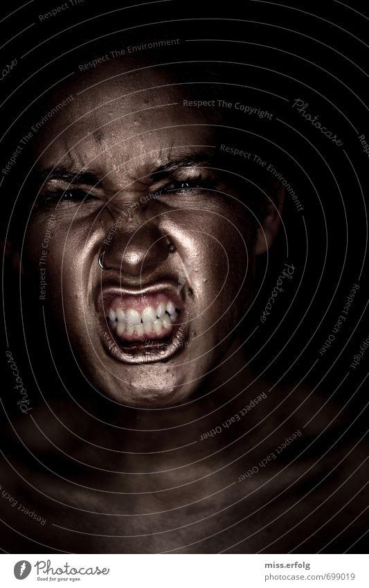 Goldig III Mensch Frau Kind Jugendliche Junge Frau schwarz Erwachsene Traurigkeit grau Angst gold 13-18 Jahre ästhetisch verrückt Mund Zähne