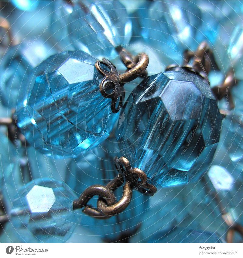 Pearls together blau Metall Ecke Perle Kette eckig Öse Perlenkette Schliff