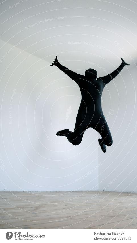 YEAH !! Sport Tanzen 1 Mensch Kunst Tänzer springen sportlich außergewöhnlich Coolness frei Fröhlichkeit Glück positiv braun grau schwarz weiß Freude Leben