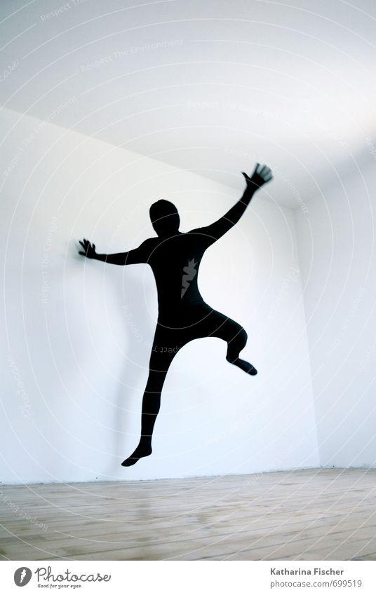 #699519 Kunst Schauspieler Tanzen Tänzer springen sportlich außergewöhnlich bedrohlich Coolness dünn blau braun schwarz weiß Freude Lebensfreude Bewegung bizarr