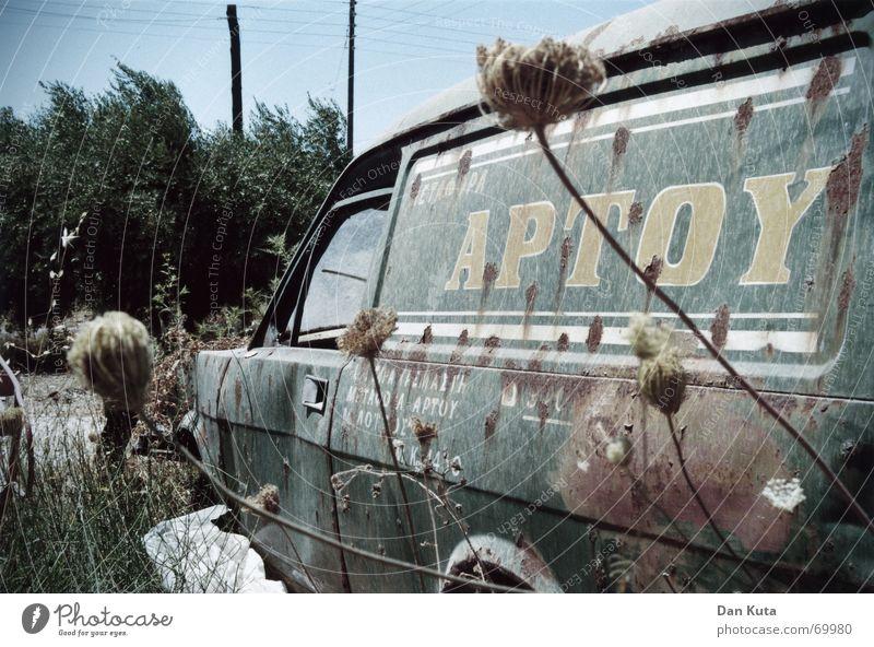 Old MacDonald had a bus... Griechenland Ödland Distel Lieferwagen kalt Schrott Jahr kaputt liegen Müll Beschriftung Typographie verfallen Sommer obskur PKW Bus