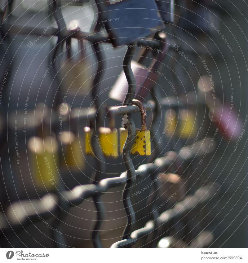 ut köln | paar mal liebe. Stadt gelb Straße Liebe Wege & Pfade Glück Linie Metall Freundschaft Zusammensein glänzend Brücke Wandel & Veränderung Sicherheit Zeichen Zaun