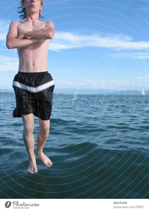 Wasserläufer Freude stehen Schwimmen & Baden Meditation Zauberei u. Magie Unsinn Humor Badehose Bodensee