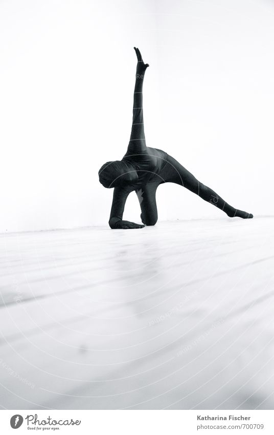 #700709 Fitness Sport-Training Yoga Tanzen 1 Mensch Kunst Tänzer Bewegung ästhetisch sportlich außergewöhnlich dünn grau schwarz weiß bizarr Inspiration Körper