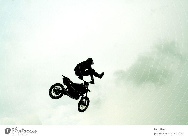 jump arround Himmel Sport springen Rennsport Motorrad Fahrzeug Freestyle hüpfen Motorradfahrer