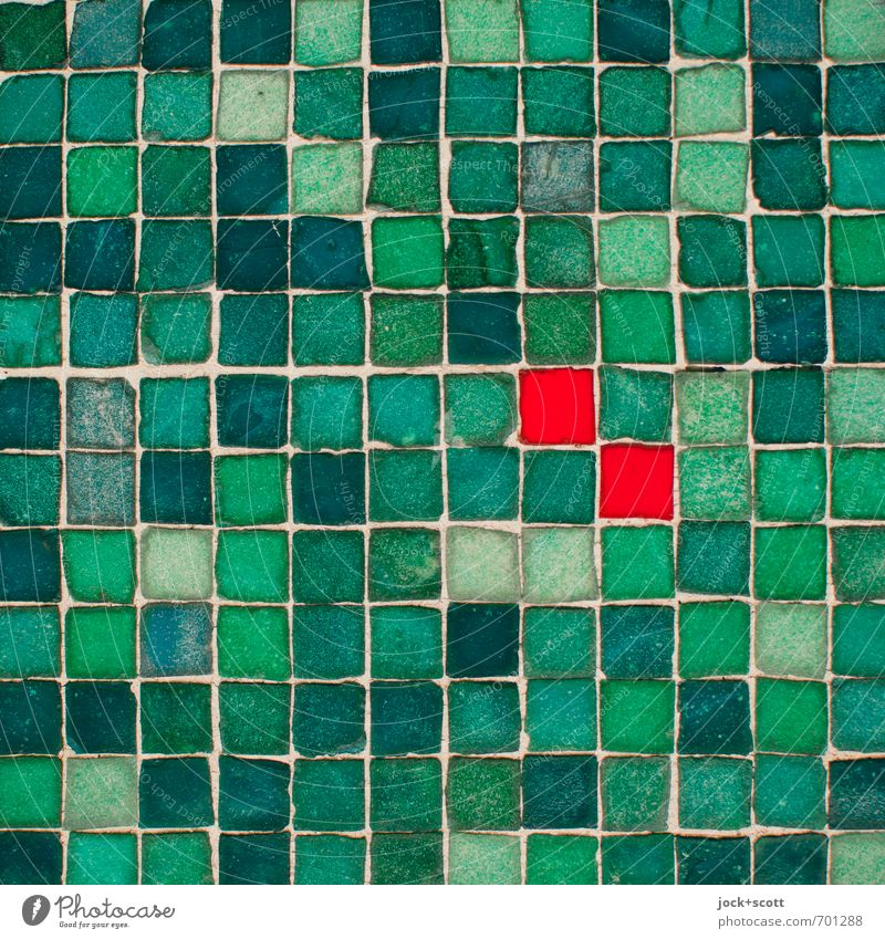 doppelte Quadrate grün rot Stil Stein Linie Zusammensein Fassade Dekoration & Verzierung authentisch paarweise Ziel nah Zusammenhalt Kontakt fest