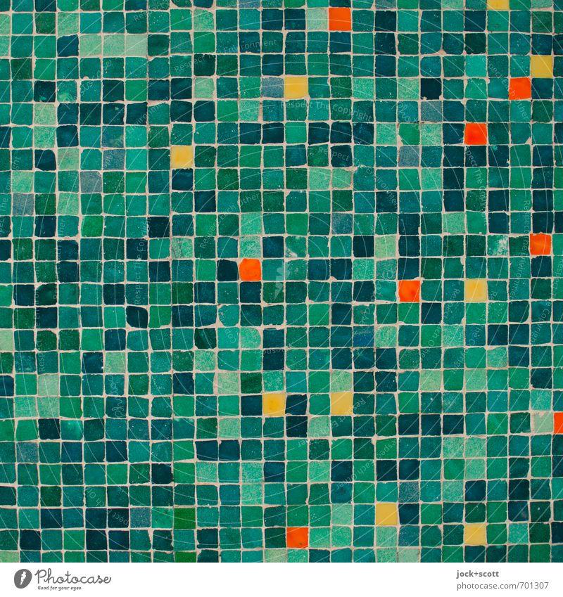 bunter im Quadrat Stil Kunsthandwerk Straßenkunst Mauer Wand Dekoration & Verzierung Ornament Linie ästhetisch eckig fest viele grün Akzeptanz authentisch