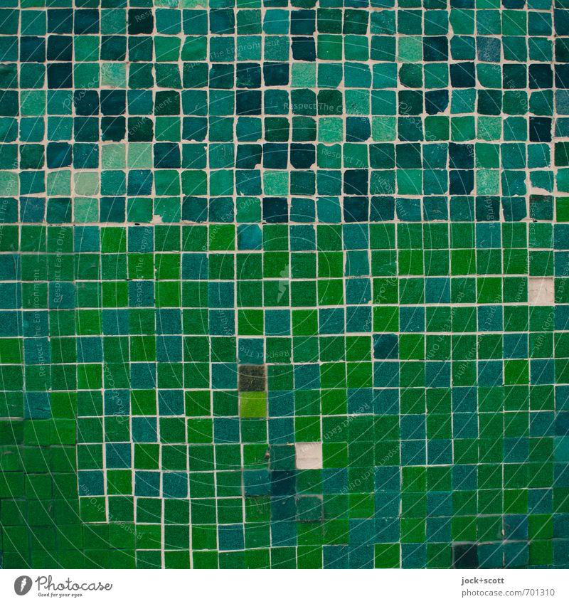 ramponiert im Quadrat Stil Kunsthandwerk Mauer Wand Sammlung Stein Linie eckig fest nah grün Akzeptanz authentisch Toleranz Stress Krise Netzwerk planen