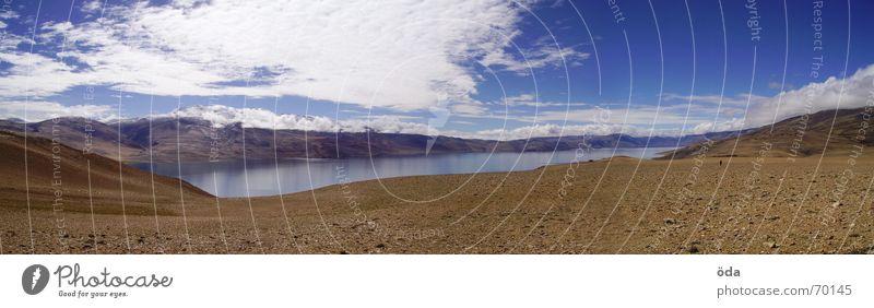 Tso Moriri Himmel Wolken Ferne Berge u. Gebirge See Niveau Aussicht Indien Bergsteigen Nepal Himalaya Ladakh Tsomoriri