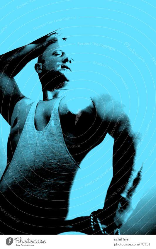 Draghar 2 Mann maskulin Oberarm Glatze Erschöpfung Müdigkeit anlehnen Vertrauen Reihe Muskulatur Fitness Sport-Training Brust anlehnung