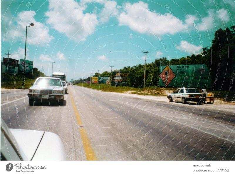 ROADTRIP TO MEXICO | cars autos highway street strasse panorama Himmel schön Ferien & Urlaub & Reisen Wolken Straße Farbe Freiheit Gefühle Wärme PKW Stimmung glänzend Schilder & Markierungen frei fahren Physik