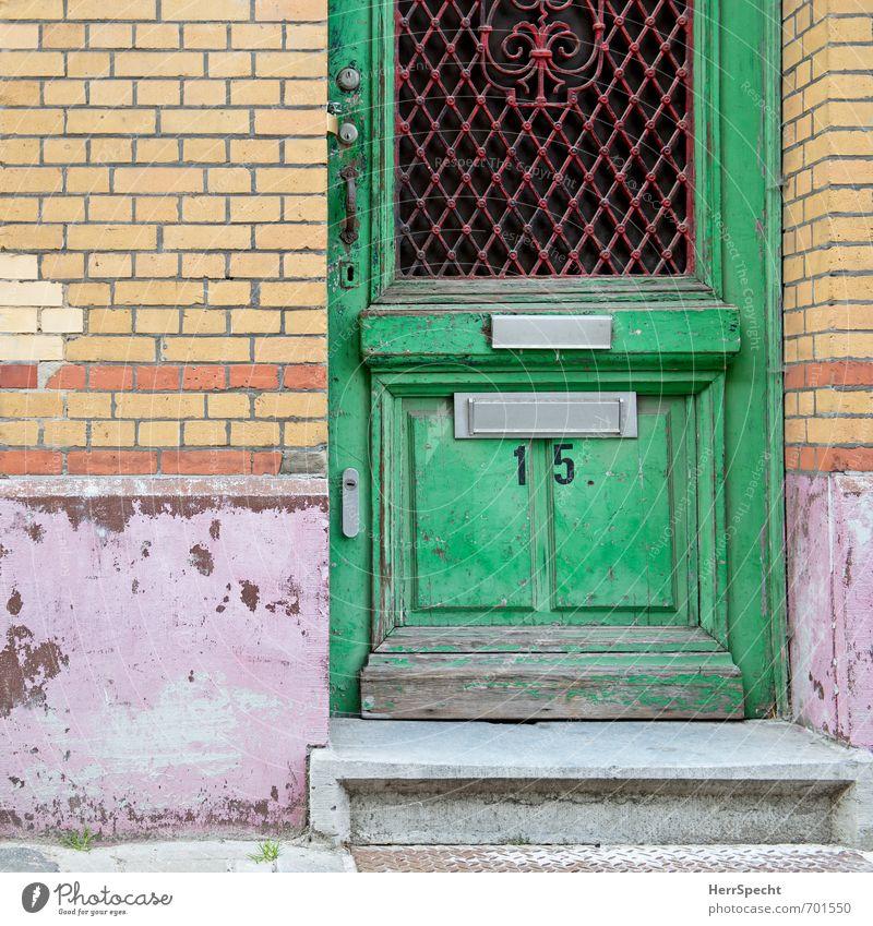 15 alt Stadt Haus Wand Farbstoff Mauer Gebäude Fassade Treppe Tür Häusliches Leben trist Vergänglichkeit Bauwerk Stadtzentrum trashig
