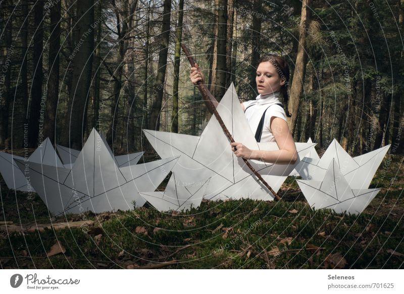 Pirat Spielen Ausflug Abenteuer Ferne Freiheit Segeln Mensch feminin Frau Erwachsene 1 18-30 Jahre Jugendliche Umwelt Natur Landschaft Moos Wald Schifffahrt