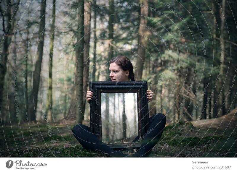 Strich in der Landschaft Sommer Mensch feminin Frau Erwachsene Kopf Hand Finger Beine 1 18-30 Jahre Jugendliche Umwelt Natur schlechtes Wetter Pflanze Baum Wald
