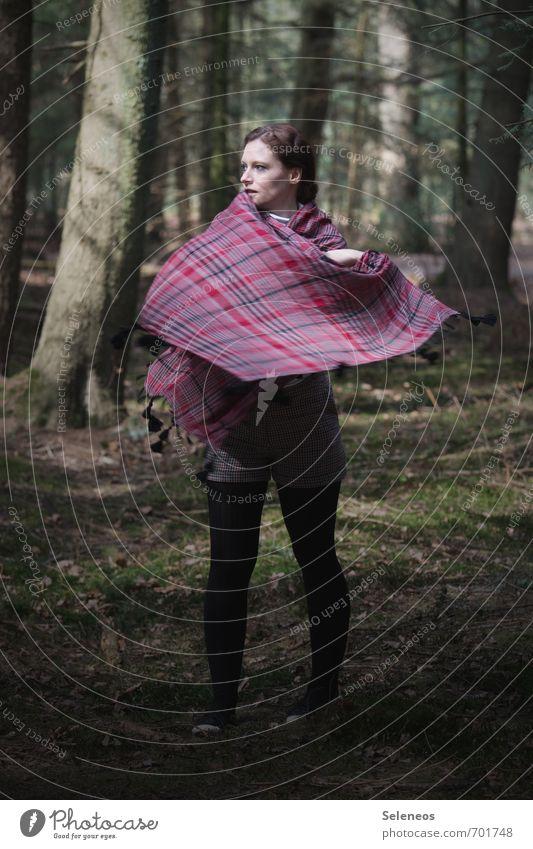 fliegender Teppich Mensch feminin Frau Erwachsene 1 18-30 Jahre Jugendliche Umwelt Natur Sommer Pflanze Baum Moos Wald Mode Bekleidung Tuch Bewegung werfen kalt
