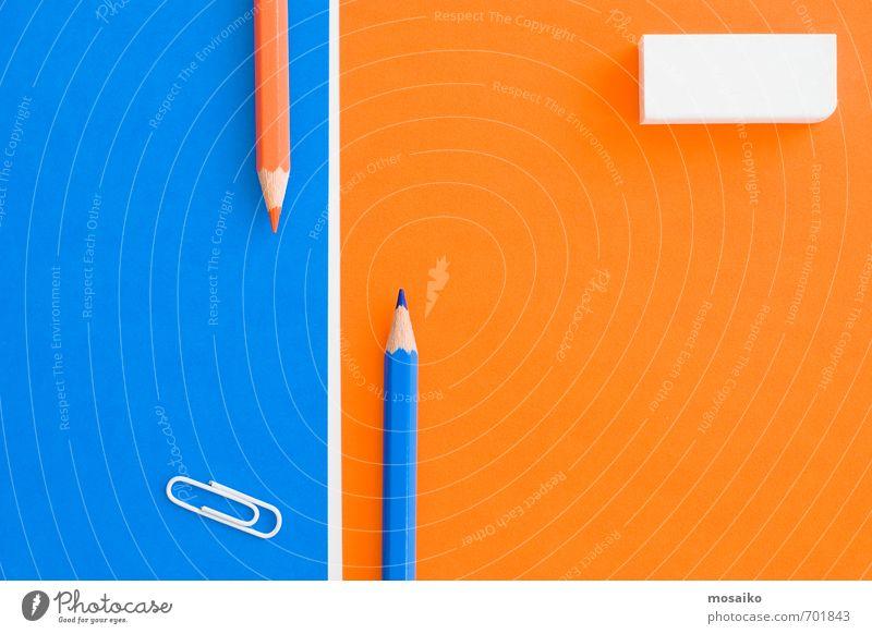 kreativer Schreibtisch Lifestyle Stil Design Bildung Wissenschaften lernen Medienbranche Business Papier Zettel Schreibstift hell trendy Sauberkeit blau orange