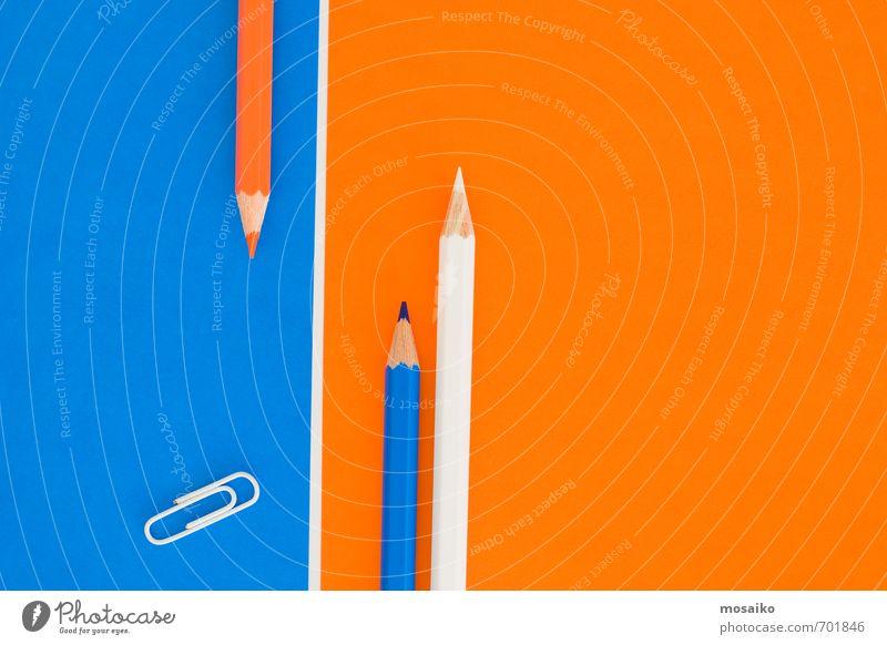 Büroklammer und Stifte blau weiß Farbe Sport Stil Schule Arbeit & Erwerbstätigkeit Freizeit & Hobby orange Business Lifestyle Design Erfolg ästhetisch lernen