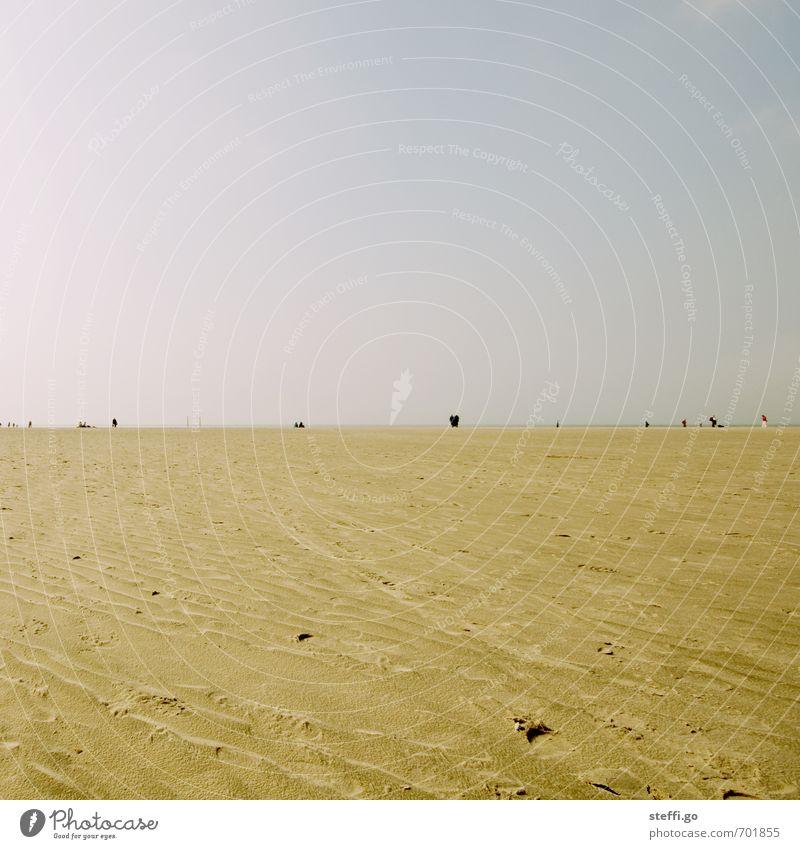 Sankt Peter Ording Mensch Ferien & Urlaub & Reisen Sommer Meer Erholung Ferne Strand Freiheit gehen Horizont Idylle Zufriedenheit frei Tourismus Ausflug