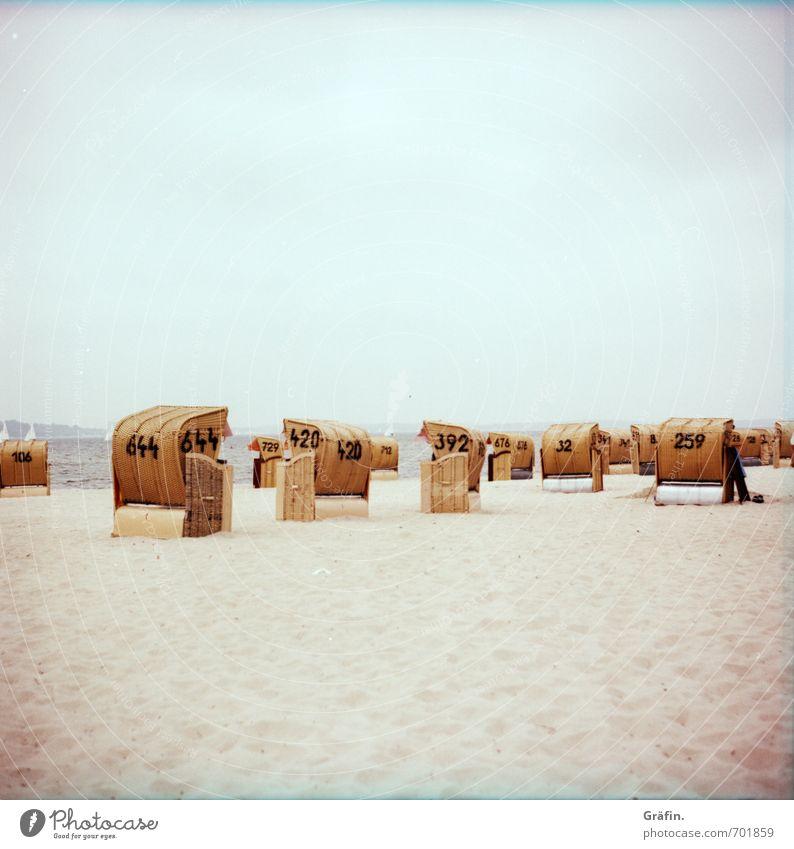 644-420-392-32-259 Ferien & Urlaub & Reisen Tourismus Sommer Sommerurlaub Strand Meer Menschenleer Erholung blau braun gelb ruhig Strandkorb Farbfoto
