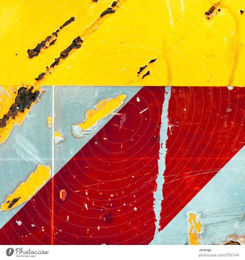 Schweres Gerät Stil Design Baustelle Metall Streifen dreckig gelb rot weiß Farbe verkratzt Hintergrundbild Rost Farbfoto Detailaufnahme abstrakt Muster