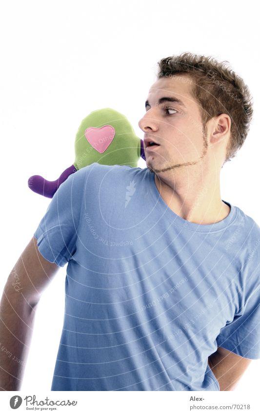 Ich seh nix, geh runter! Mann Jugendliche Liebe Herz Angst Hilfsbereitschaft T-Shirt Bart rückwärts erstaunt Außerirdischer Monster hilflos Angriff erschrecken Stofftiere