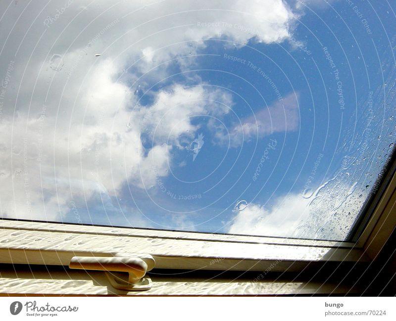 """""""in aspergine denique in aspergine te reperio..."""" Wasser Himmel weiß Sonne blau Wolken Einsamkeit Fenster Traurigkeit Regen Glas Wetter geschlossen Trauer"""