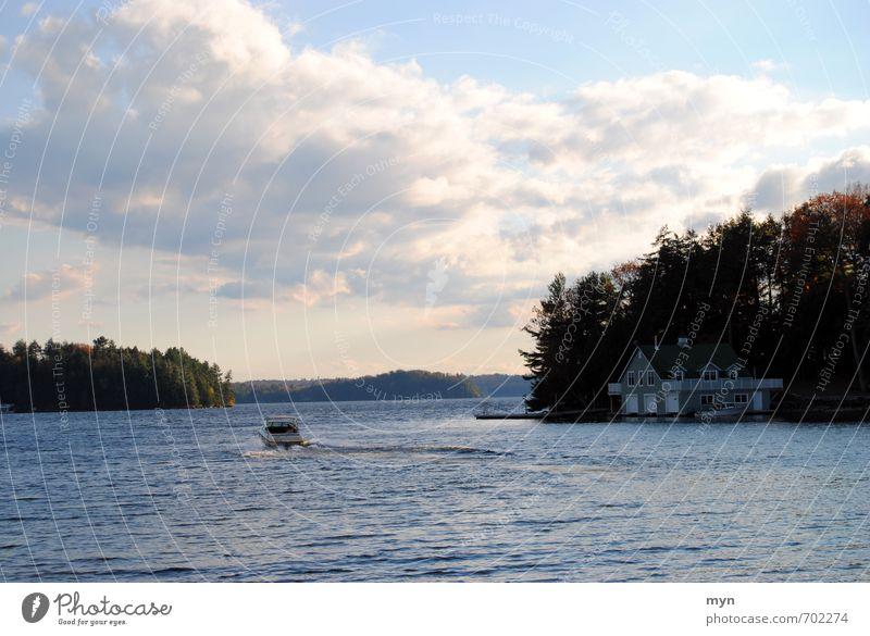 Lake Muskoka Umwelt Natur Landschaft Wasser Himmel Wolken Sonnenaufgang Sonnenuntergang Herbst Schönes Wetter Sturm Wellen Küste Seeufer Bucht Bootsfahrt