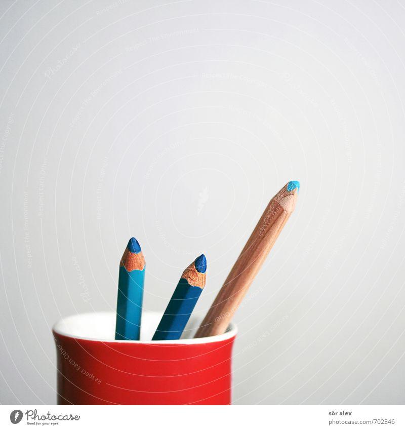 Blaustifte blau rot Business Büro Kreativität Kommunizieren malen Bildung Team zeichnen Tasse Kindergarten Schreibstift Werbebranche Kindererziehung Schreibwaren