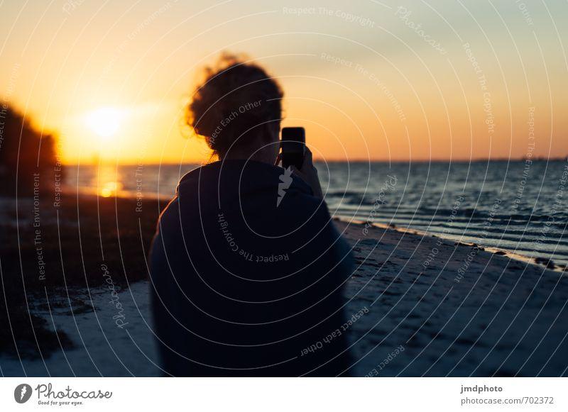 Sonnenuntergang in Florida Mensch Jugendliche Ferien & Urlaub & Reisen Sommer Meer Junge Frau 18-30 Jahre Ferne Strand Erwachsene feminin Freiheit gehen