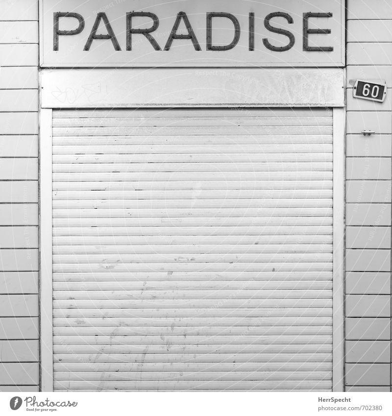 Paradise closed Stadt ruhig Traurigkeit Gebäude Fassade trist geschlossen Vergänglichkeit retro Pause kaufen Bauwerk Paradies Ladengeschäft Stadtzentrum trashig