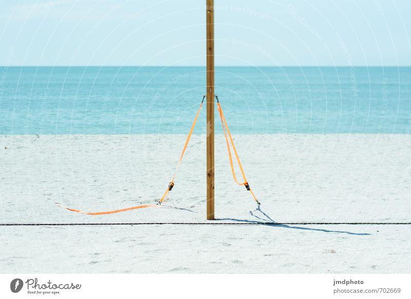 Beachvolleyball is heute nicht!!! Ferien & Urlaub & Reisen blau Sommer Meer Freude Ferne Strand Sport Freiheit orange Tourismus ästhetisch Insel Ausflug einfach