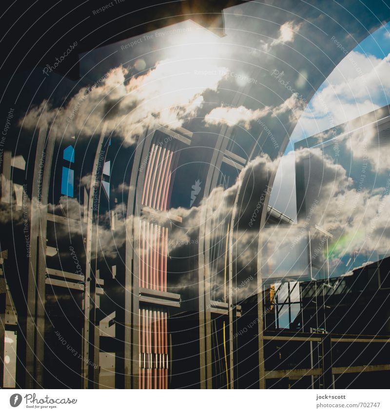 Kabel und Stromleitungen in Reflexion Technik & Technologie Wolken Sonne Wärme Stahlträger U-Bahn Bahnhof Schienennetz Stahlkabel außergewöhnlich Energie