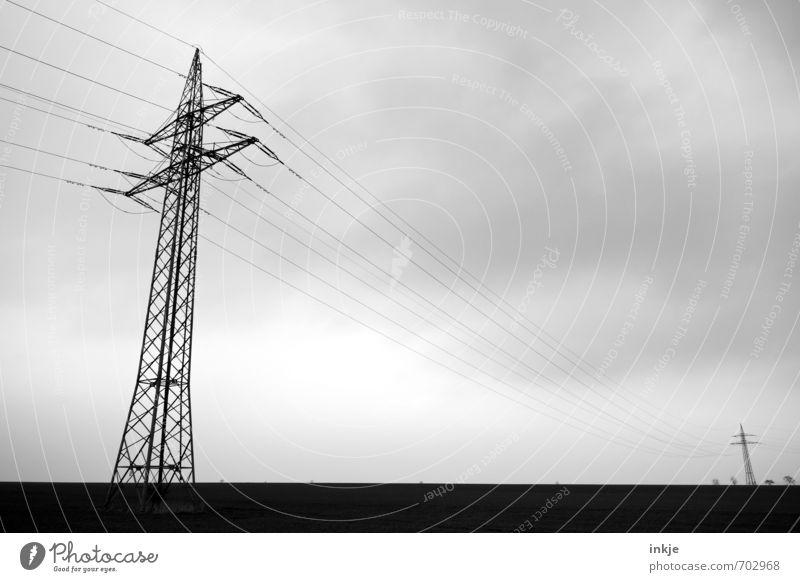 sie konnten zusammen nicht kommen Energiewirtschaft Technik & Technologie Kabel Elektrizität Stromtransport Umwelt Landschaft Himmel Wolken Horizont