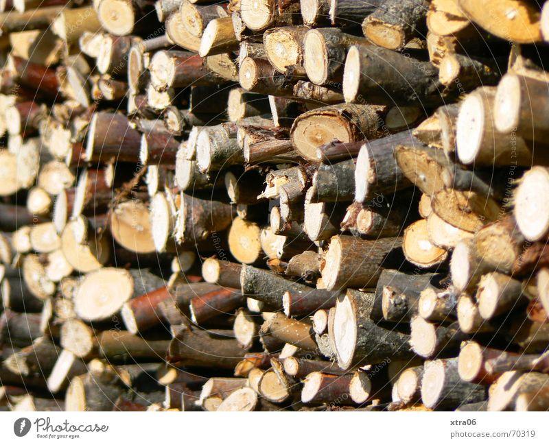 Holz vor der Hüttn Brennholz Stapel braun Holzstapel Baum Baumstamm Haufen ländlich Stufenordnung Nutzholz stapeln baumast schärfe-unschärfe Ast mehrere Zweig