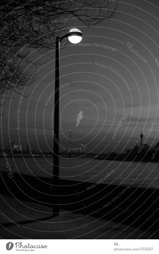 D Städtereise Umwelt Natur Landschaft Himmel Baum Fluss Stadt Rheinturm Wege & Pfade Brücke dunkel ruhig Einsamkeit Düsseldorf Rheinpromenade Straßenbeleuchtung