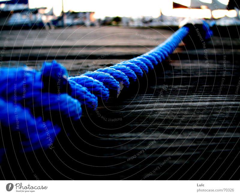 Blue Rope Holzmehl Dock Himmel blue rope boat water bay sky horizon
