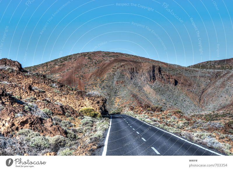 Straße im Teidekrater Ferien & Urlaub & Reisen Tourismus Expedition Meer Insel Natur Landschaft Felsen Vulkan Architektur ruhig Einsamkeit Geografie Spanien