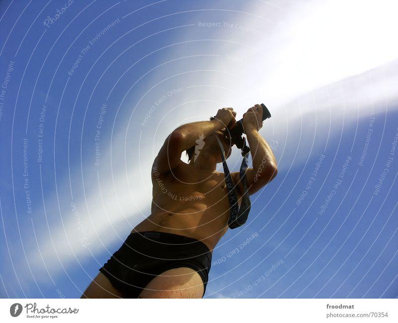 Fotograf Himmel blau Sonne Sommer Wolken Streifen Fotokamera Werbung Fotografieren Brasilien sehr wenige