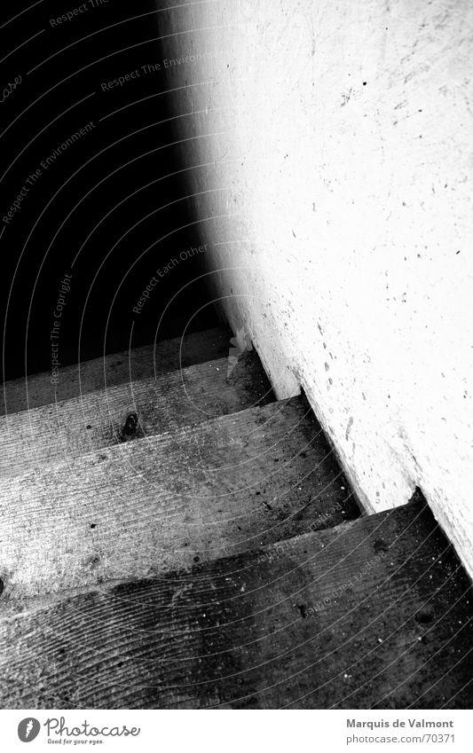 Von dort unten werden sie kommen... Fußtritt dreckig Holz Wand Putz Kalk weiß schwarz Keller steil Blick nach unten dunkel Licht geheimnisvoll unheimlich