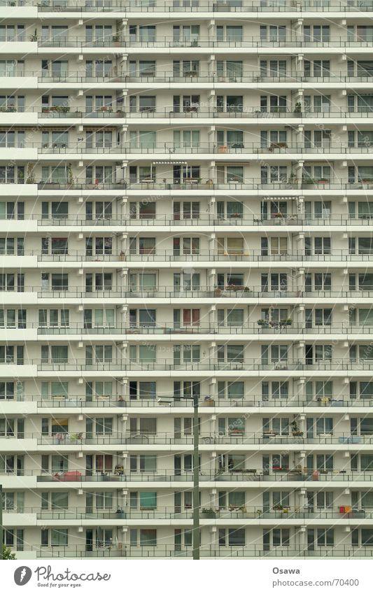 Schöner Wohnen 03 Haus Fenster Berlin Gebäude Wohnung Fassade modern Hochhaus trist Bauwerk Balkon Etage DDR anonym gerade Plattenbau